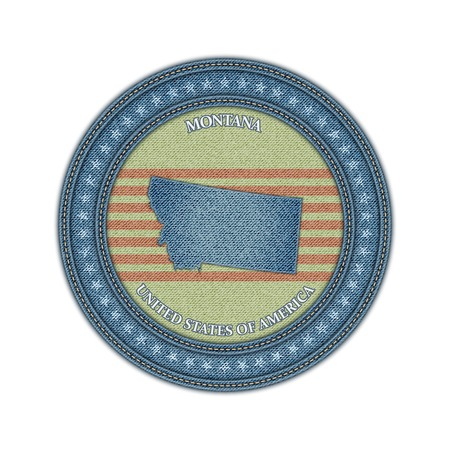 Label with map of montana. Denim style. Vector eps 10 Vector