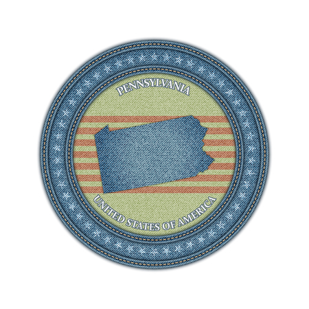 Label with map of pennsylvania. Denim style. Vector eps 10 Vector