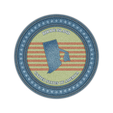 Label with map of rhode island. Denim style. Vector eps 10 Vector