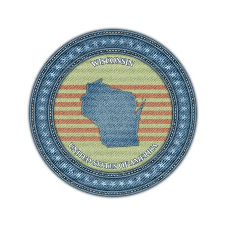 Label with map of wisconsin. Denim style. Vector eps 10 Vector