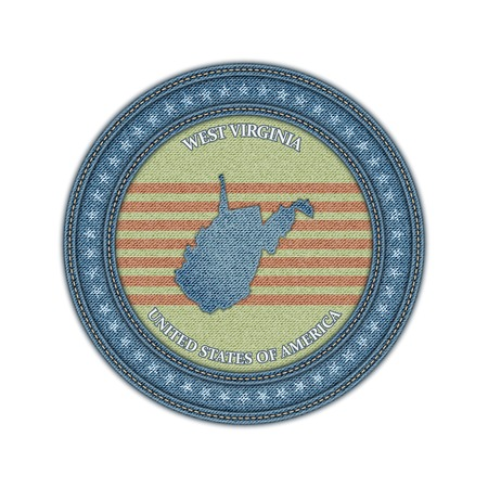 Label with map of west virginia. Denim style. Vector eps 10 Vector