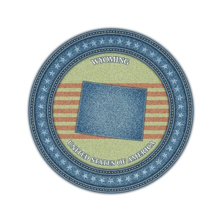 Label with map of wyoming. Denim style. Vector eps 10 Vector