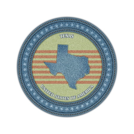 Label with map of texas. Denim style. Vector eps 10 Vector