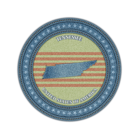 Label with map of tennessee. Denim style. Vector eps 10 Vector