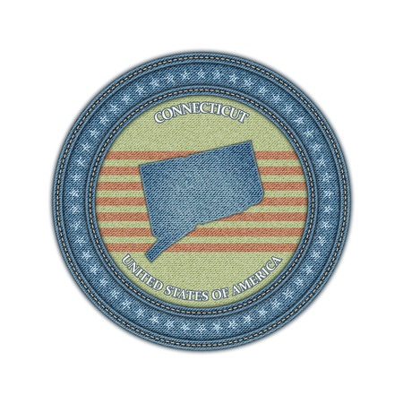 Label with map of connecticut. Denim style. Vector eps 10 Vector