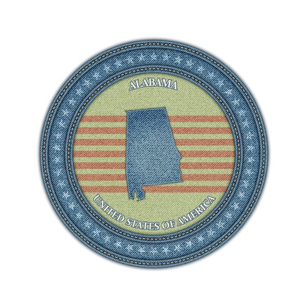 Label with map of alabama. Denim style. Vector eps 10 Vector