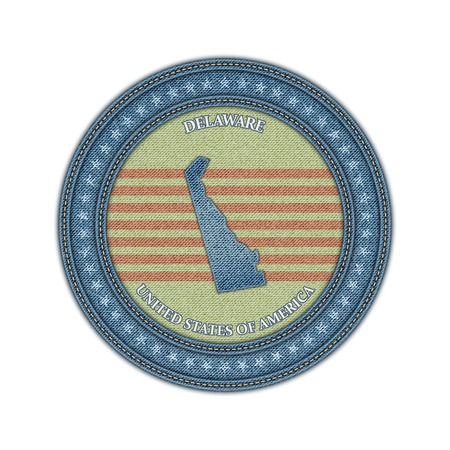 Label with map of delaware. Denim style. Vector eps 10 Vector