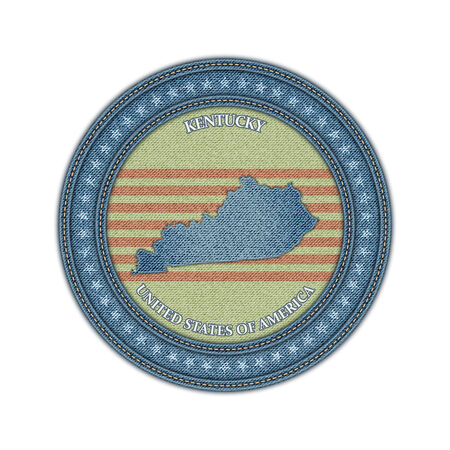 Label with map of kentucky. Denim style. Vector eps 10 Vector