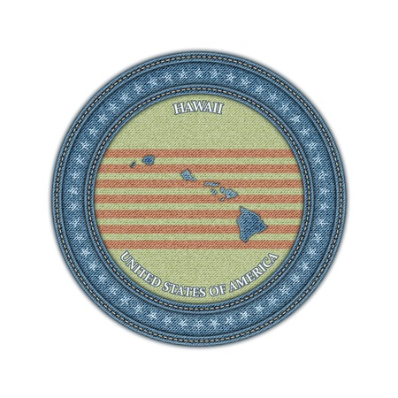 Label with map of hawaii. Denim style. Vector eps 10 Vector