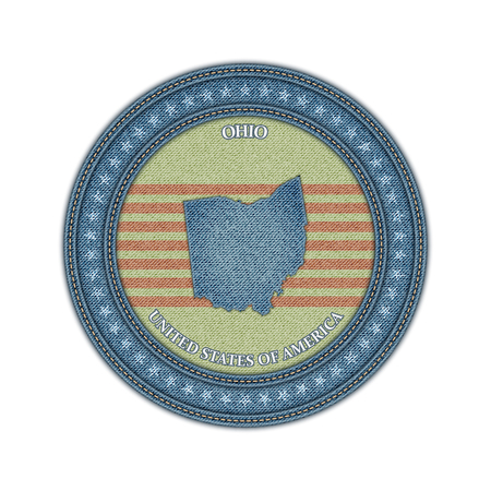 Label with map of ohio. Denim style. Vector eps 10 Vector