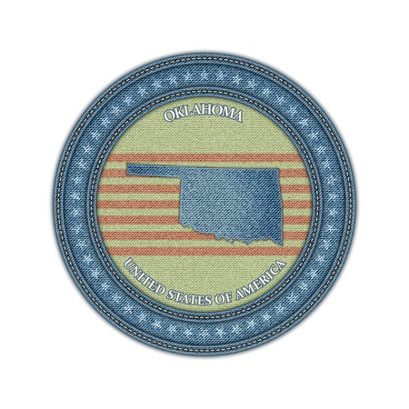 Label with map of oklahoma. Denim style. Vector eps 10 Vector