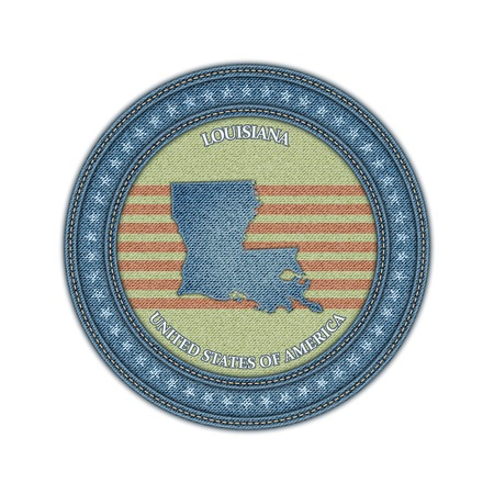 Label with map of louisiana. Denim style. Vector eps 10 Vector