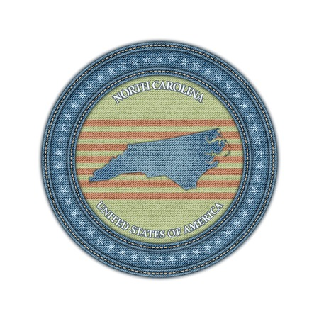 Label with map of north carolina. Denim style. Vector eps 10 Vector