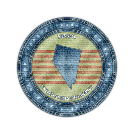 Label with map of nevada. Denim style. Vector eps 10 Vector