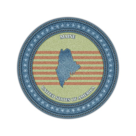 Label with map of maine. Denim style. Vector eps 10 Vector
