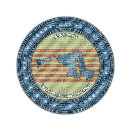 Label with map of maryland. Denim style. Vector eps 10 Vector