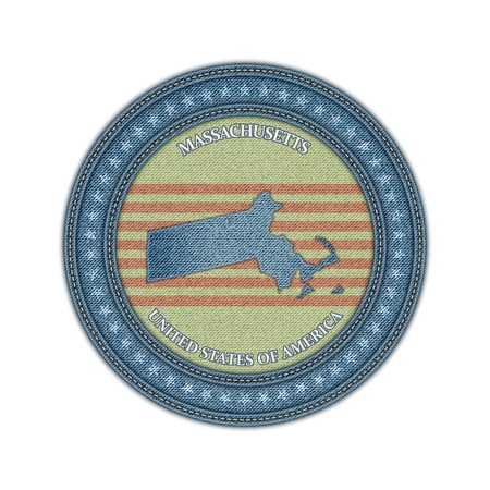 Label with map of massachussetts. Denim style. Vector eps 10 Vector