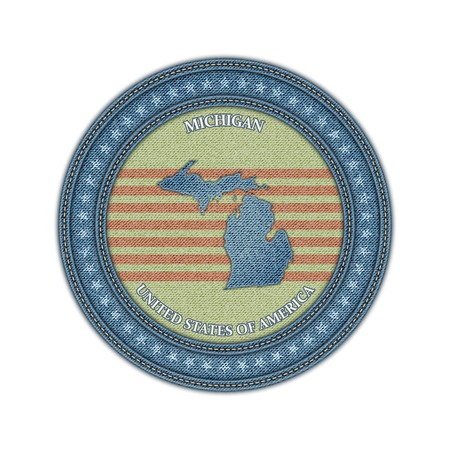 Label with map of michigan. Denim style. Vector eps 10 Vector