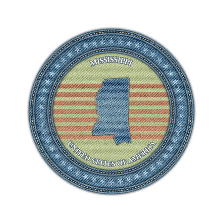 Label with map of mississippi. Denim style. Vector eps 10 Vector