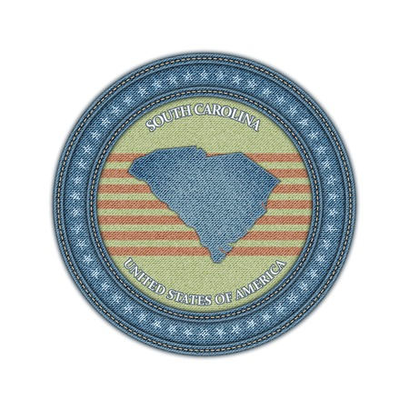 Label with map of south carolina. Denim style. Vector eps 10 Vector