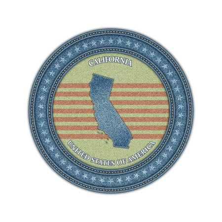 Label with map of california. Denim style. Vector eps 10 Vector