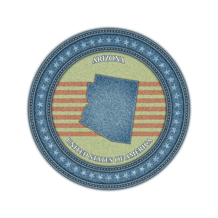 Label with map of arizona. Denim style. Vector eps 10 Vector
