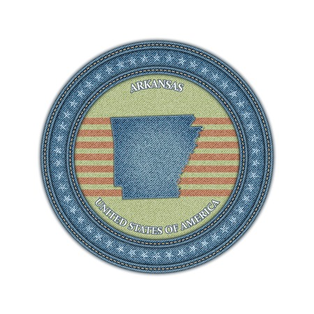 Label with map of arkansas. Denim style. Vector eps 10 Vector