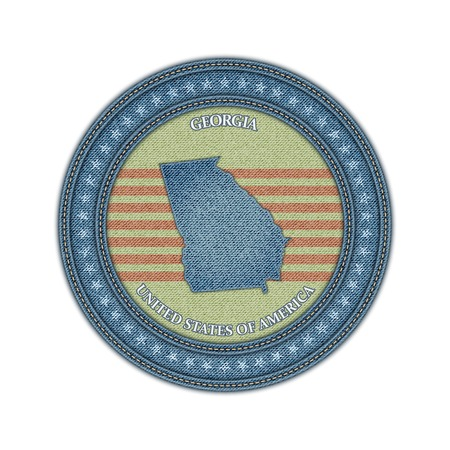 Label with map of georgia. Denim style. Vector eps 10 Vector