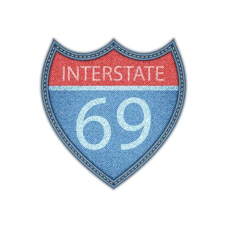 interstate:  Interstate Highway sign . Denim style. Vector eps 10