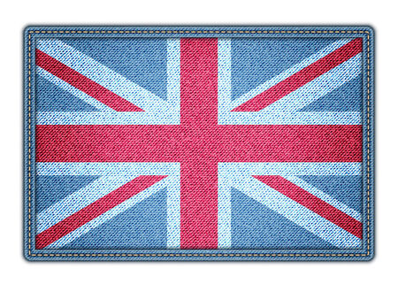 Great Britain flag. Realistic denim. Vector illustration. Vector