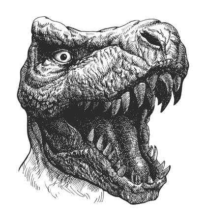 恐竜ティラノサウルス。手描きします。