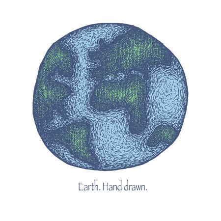 earth in hand: Tierra. Dibujado a mano. Ilustraci�n vectorial Vectores