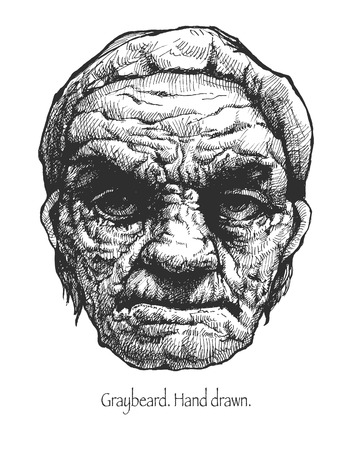 crinkle: Greybeard. Hand drawn.