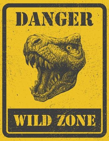 beware: warning sign. danger signal with dinosaur.  Illustration