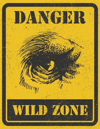 outbreak: warning sign. danger signal with gorilla eye.