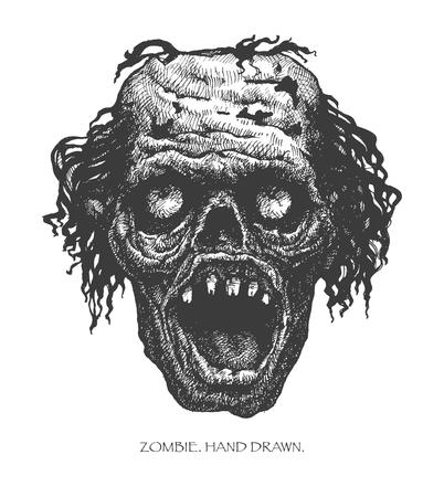 zombie head, hand drawn
