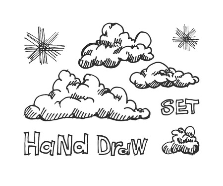 Set of vector engraving clouds  Vector