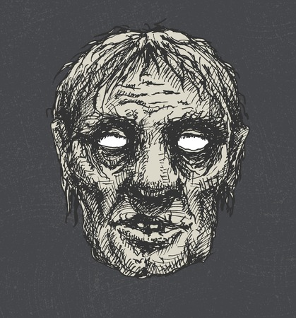 zombie head, hand drawn Vector