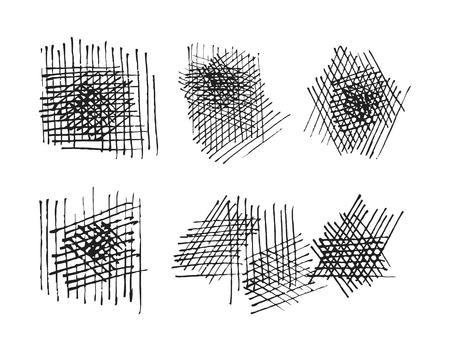 crosshatching: grunge crosshatching drawing textures set.