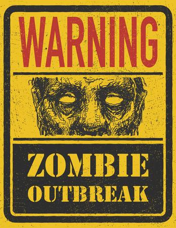 madman: Poster Outbreak Zombie. Tarjeta de la muestra con la cara de zombies, las fuentes escritas a mano, las palabras Zombie Outbreak Dejar.