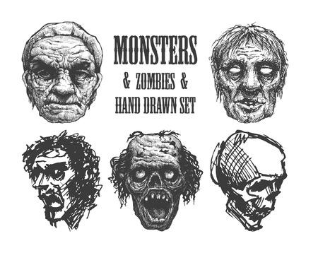 madman: Outbreak Zombie. Dibujado a mano. Vectores
