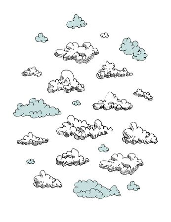 Set of engraving clouds Vector