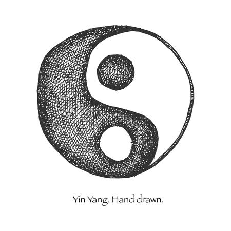 yin et yang: yin yang dessin� � la main Illustration