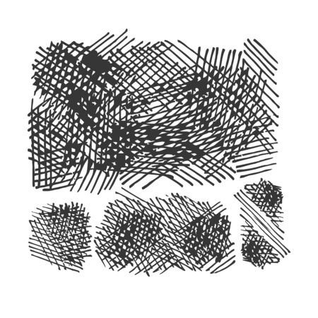 crosshatching: grunge crosshatching drawing textures set  Illustration