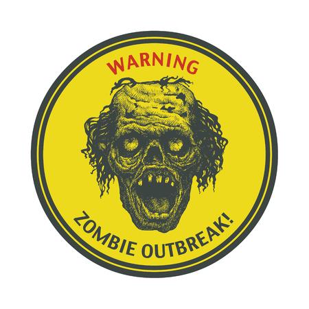 maniaco: Poster Zombie Outbreak. Collegati bordo con zombie faccia, i caratteri scritti a mano, le parole Zombie Outbreak Leave.