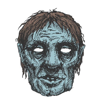 undead: zombie head, hand drawn