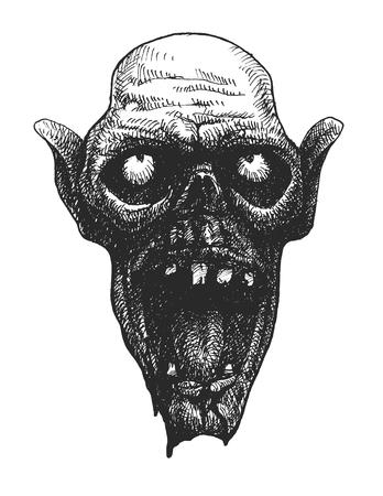halloween ugly: zombie head, hand drawn