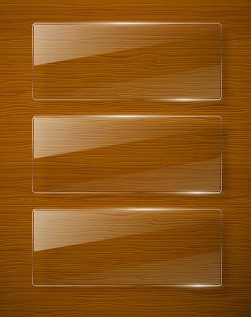 glass fence: Wooden texture with glass framework illustration Illustration