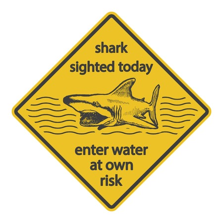 Grunge shark attack warning sign