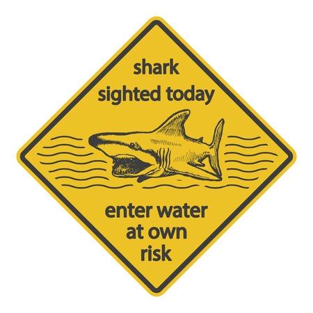 Grunge shark attack warning sign